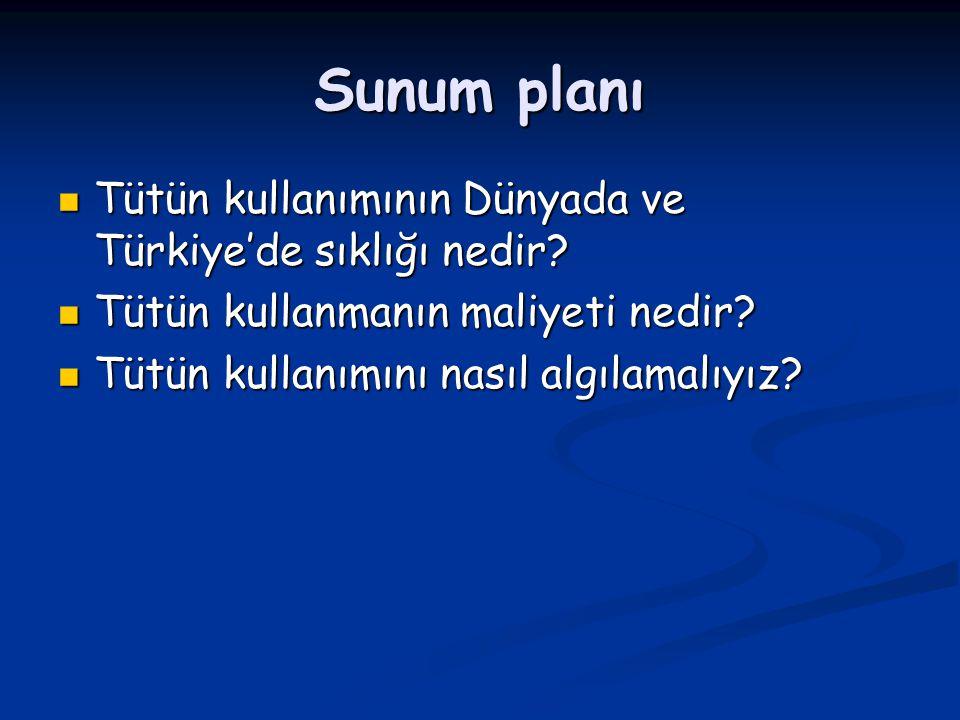 Sunum planı Tütün kullanımının Dünyada ve Türkiye'de sıklığı nedir? Tütün kullanımının Dünyada ve Türkiye'de sıklığı nedir? Tütün kullanmanın maliyeti