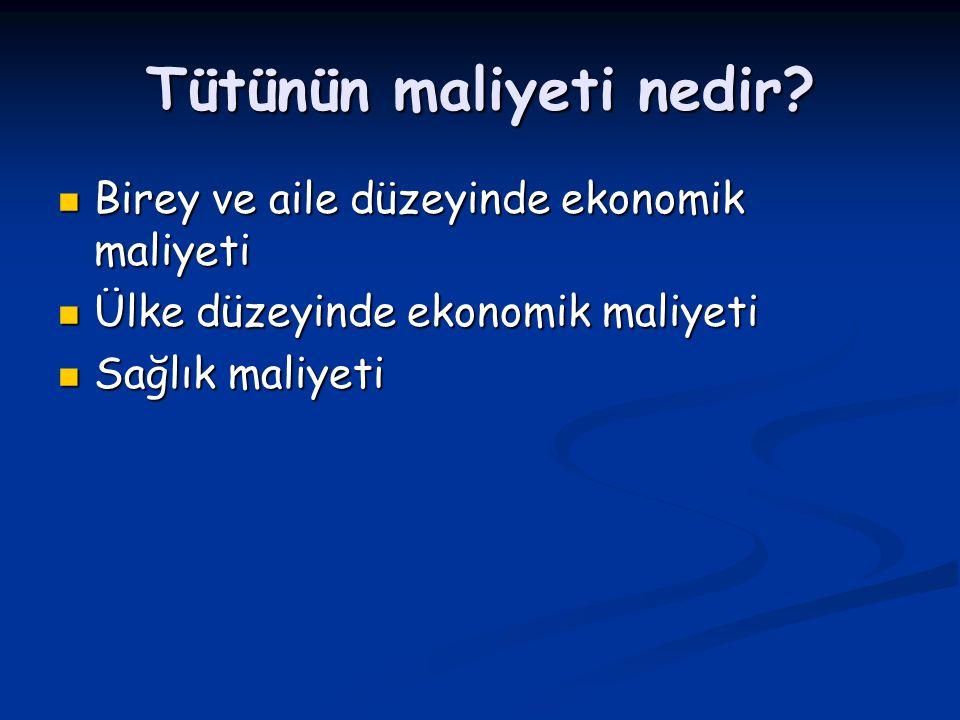 Birey ve aile düzeyinde tütün maliyeti Birey ve aile düzeyinde tütün maliyeti 1 paket Sigaranın maliyeti; - Türkiye'de asgari ücretle geçinen bir kişinin günlük gelirinin %40' nı oluşturmaktadır günlük gelirinin %40' nı oluşturmaktadır