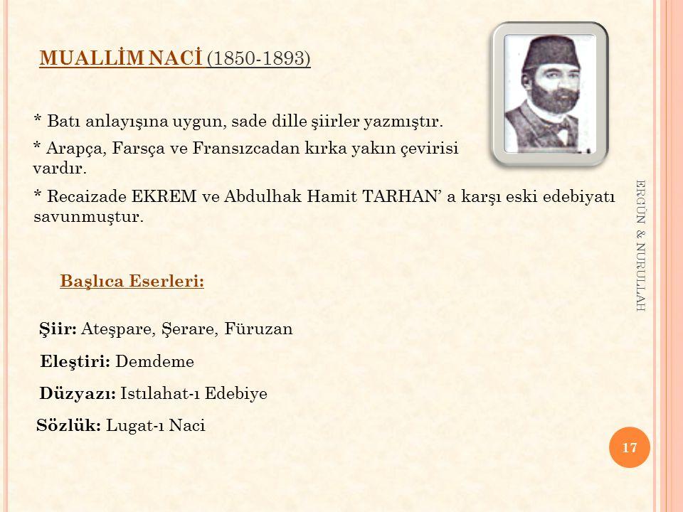 17 ERGÜN & NURULLAH MUALLİM NACİ (1850-1893) Başlıca Eserleri: * Batı anlayışına uygun, sade dille şiirler yazmıştır. * Arapça, Farsça ve Fransızcadan