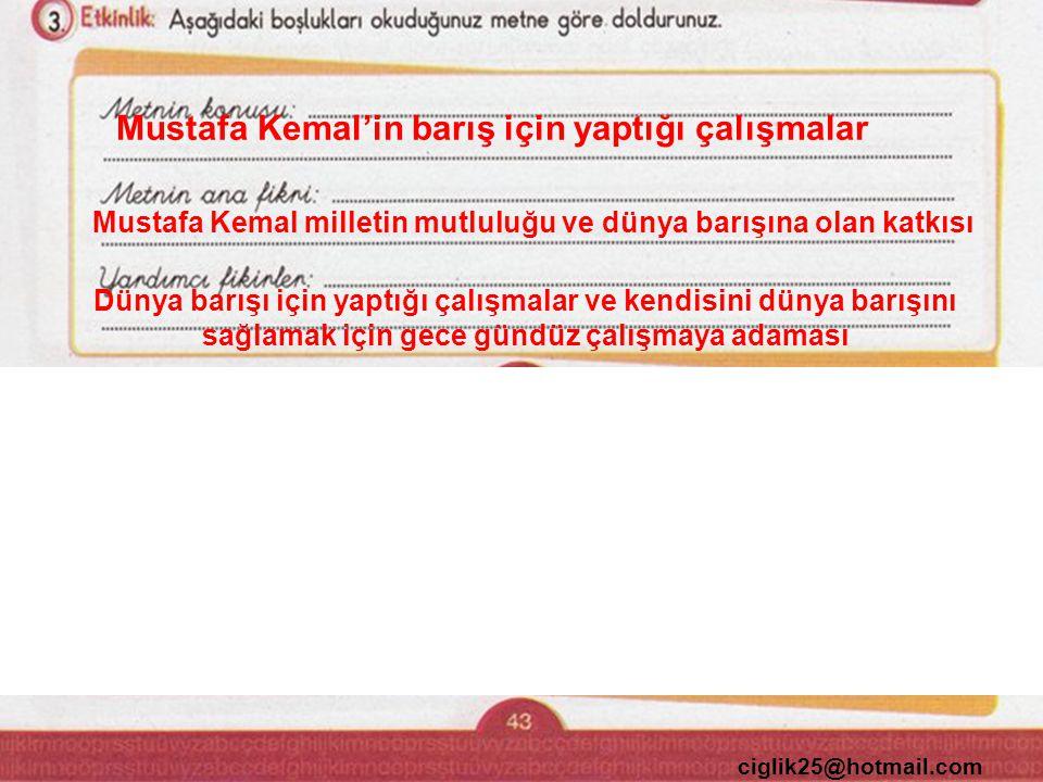 ciglik25@hotmail.com Mustafa Kemal'in barış için yaptığı çalışmalar Mustafa Kemal milletin mutluluğu ve dünya barışına olan katkısı Dünya barışı için yaptığı çalışmalar ve kendisini dünya barışını sağlamak için gece gündüz çalışmaya adaması