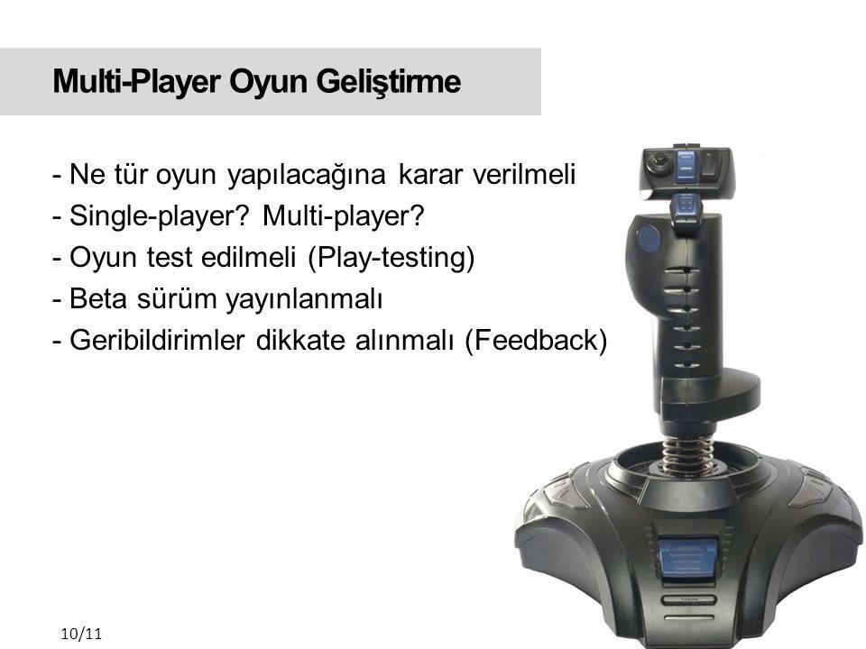 Multi-Player Oyun Geliştirme - Ne tür oyun yapılacağına karar verilmeli - Single-player.