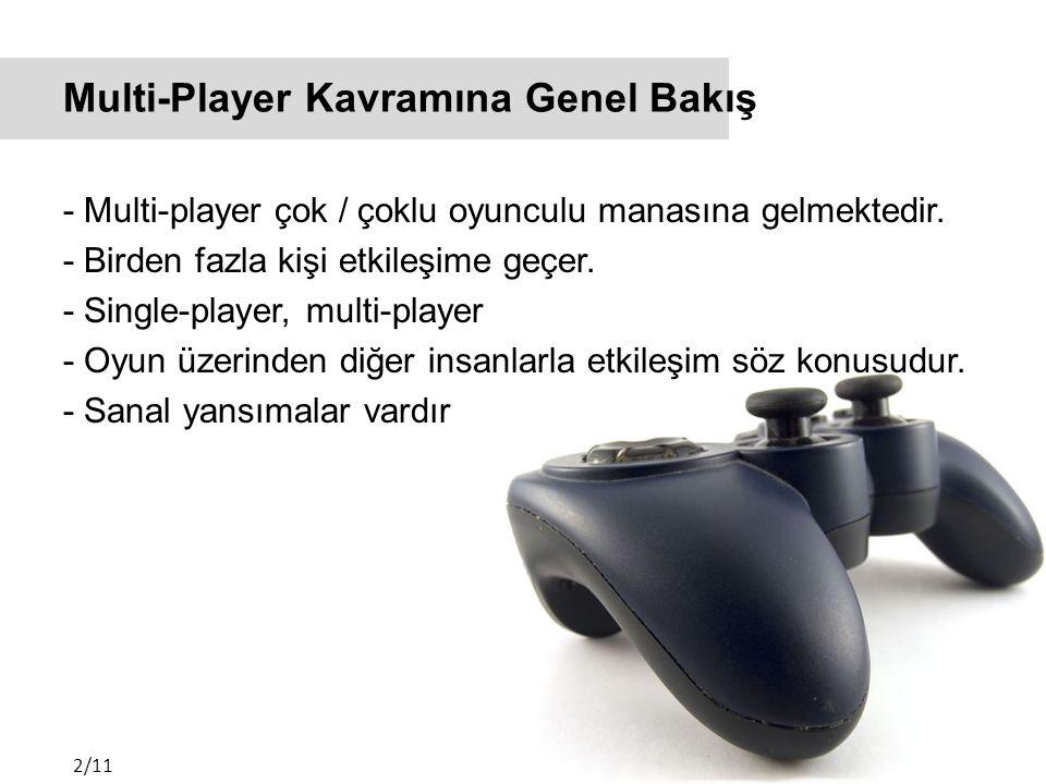 Multi-Player Kavramına Genel Bakış - Multi-player çok / çoklu oyunculu manasına gelmektedir.