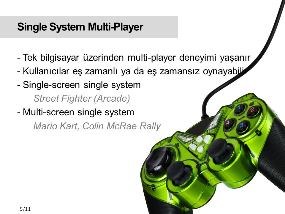 Single System Multi-Player Single-screen single system Street Fighter (Arcade) 6/11 Multi-screen single system Colin McRae Rally