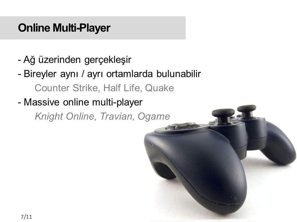 Online Multi-Player Online multi-player Counter Strike 8/11 Massive online multi- player Ogame