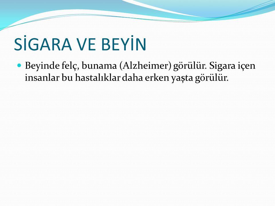 SİGARA VE BEYİN Beyinde felç, bunama (Alzheimer) görülür. Sigara içen insanlar bu hastalıklar daha erken yaşta görülür.