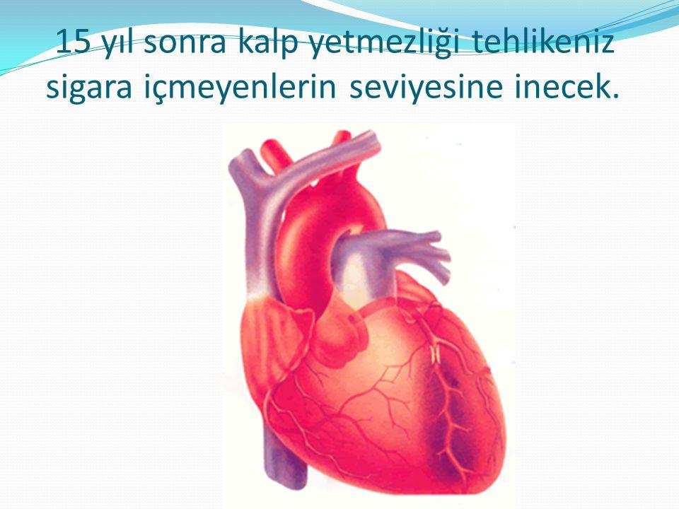 15 yıl sonra kalp yetmezliği tehlikeniz sigara içmeyenlerin seviyesine inecek.