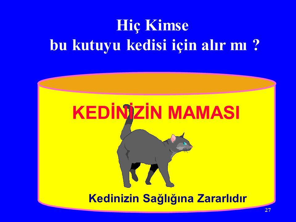 İSTANBUL, 31 MAYIS 200627 Hiç Kimse bu kutuyu kedisi için alır mı ? Kedinizin Sağlığına Zararlıdır KEDİNİZİN MAMASI