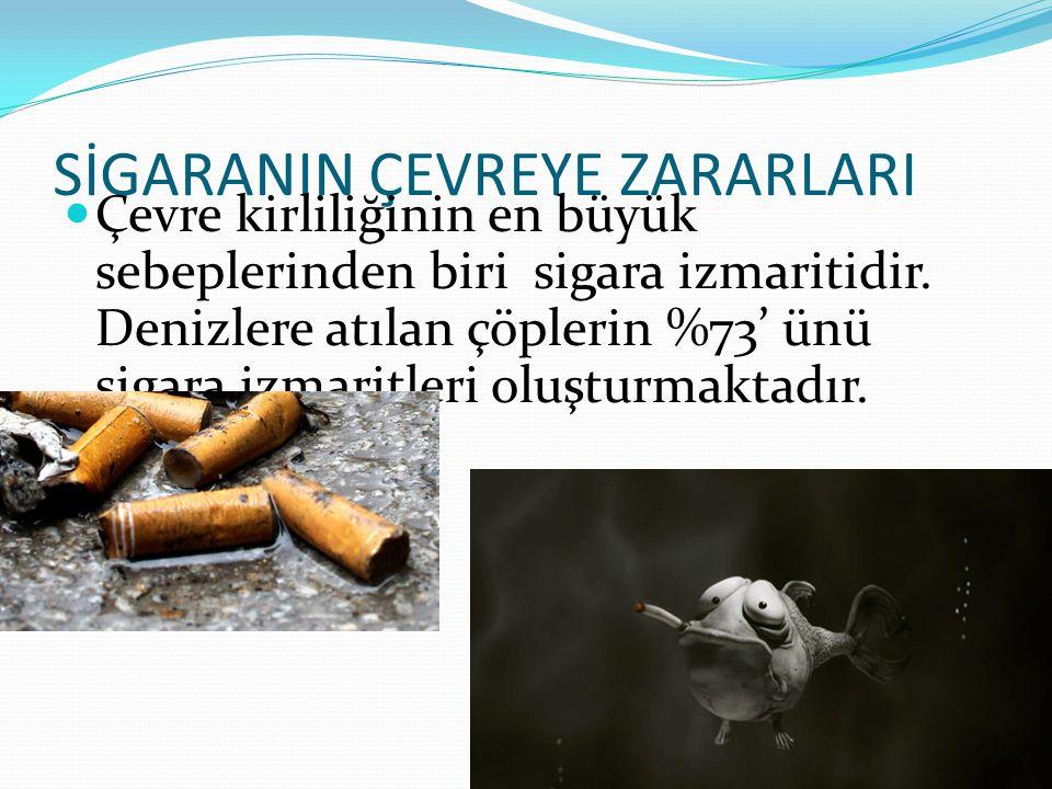 SİGARANIN ÇEVREYE ZARARLARI Çevre kirliliğinin en büyük sebeplerinden biri sigara izmaritidir. Denizlere atılan çöplerin %73' ünü sigara izmaritleri o