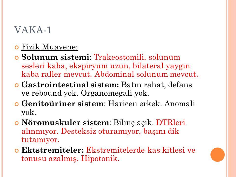 VAKA-1 Fizik Muayene: Solunum sistemi : Trakeostomili, solunum sesleri kaba, ekspiryum uzun, bilateral yaygın kaba raller mevcut. Abdominal solunum me