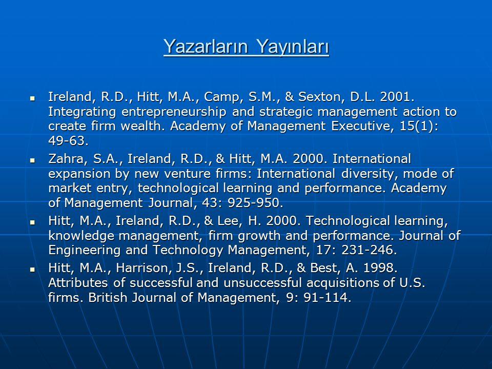 Yazarların Yayınları Ireland, R.D., Hitt, M.A., Camp, S.M., & Sexton, D.L. 2001. Integrating entrepreneurship and strategic management action to creat