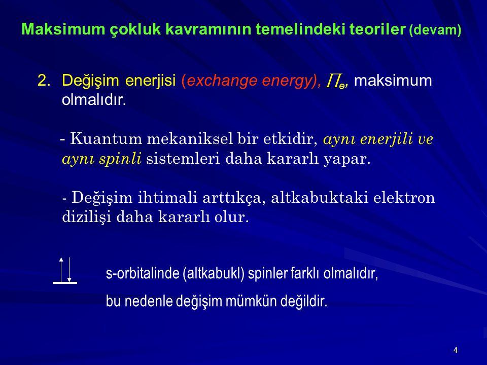 4 2.Değişim enerjisi (exchange energy),  e, maksimum olmalıdır. - Kuantum mekaniksel bir etkidir, aynı enerjili ve aynı spinli sistemleri daha kararl