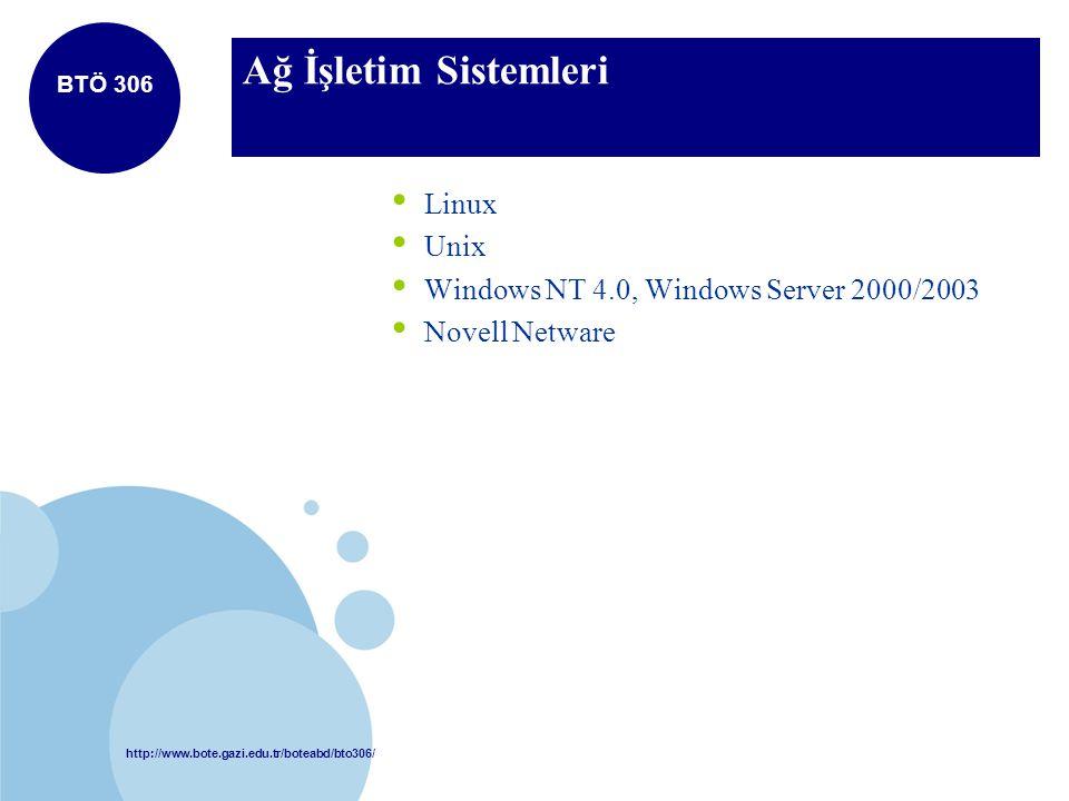 http://www.bote.gazi.edu.tr/boteabd/bto306/ BTÖ 306 Ağ İşletim Sistemleri Linux Unix Windows NT 4.0, Windows Server 2000/2003 Novell Netware