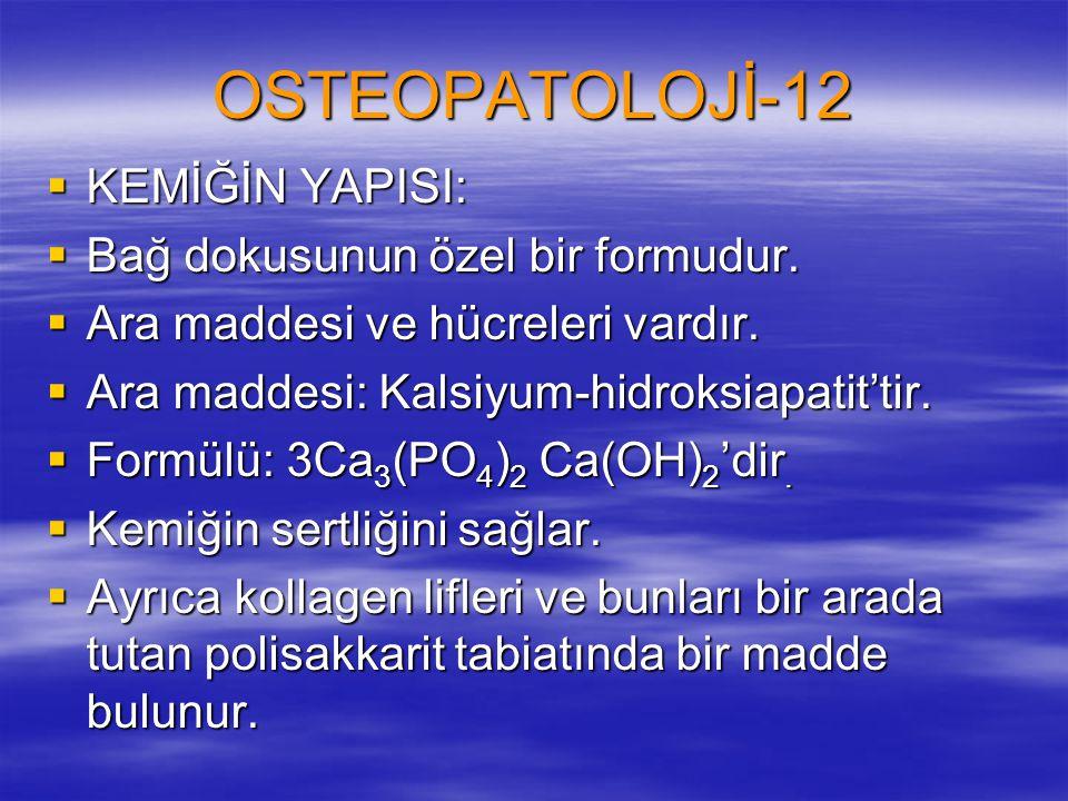 OSTEOPATOLOJİ-12  KEMİĞİN YAPISI:  Bağ dokusunun özel bir formudur.  Ara maddesi ve hücreleri vardır.  Ara maddesi: Kalsiyum-hidroksiapatit'tir. 