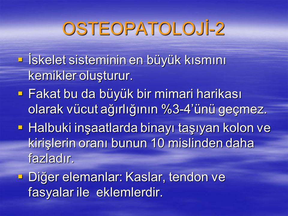 OSTEOPATOLOJİ-2  İskelet sisteminin en büyük kısmını kemikler oluşturur.  Fakat bu da büyük bir mimari harikası olarak vücut ağırlığının %3-4'ünü ge