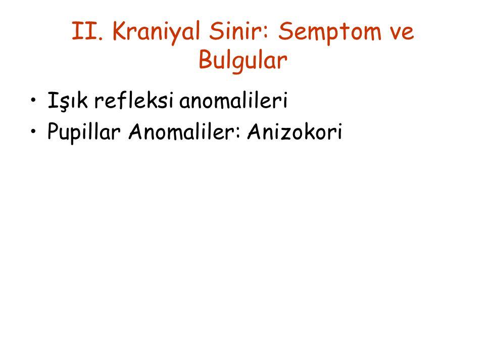 II. Kraniyal Sinir: Semptom ve Bulgular Işık refleksi anomalileri Pupillar Anomaliler: Anizokori