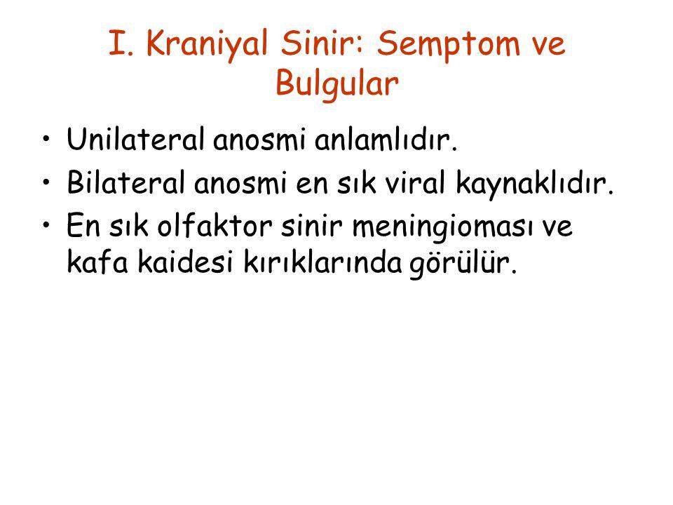 I.Kraniyal Sinir: Semptom ve Bulgular Unilateral anosmi anlamlıdır.