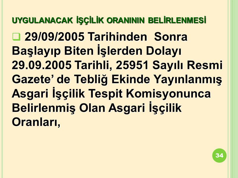 UYGULANACAK İŞÇİLİK ORANININ BELİRLENMESİ  29/09/2005 Tarihinden Sonra Başlayıp Biten İşlerden Dolayı 29.09.2005 Tarihli, 25951 Sayılı Resmi Gazete'