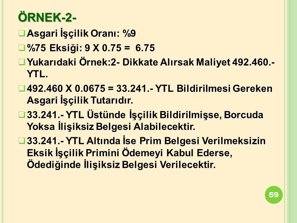 ÖRNEK-2-  Asgari İşçilik Oranı: %9  %75 Eksiği: 9 X 0.75 = 6.75  Yukarıdaki Örnek:2- Dikkate Alırsak Maliyet 492.460.- YTL.  492.460 X 0.0675 = 33