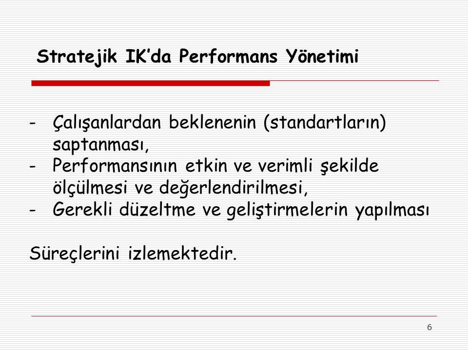 6 Stratejik IK'da Performans Yönetimi -Çalışanlardan beklenenin (standartların) saptanması, -Performansının etkin ve verimli şekilde ölçülmesi ve değerlendirilmesi, -Gerekli düzeltme ve geliştirmelerin yapılması Süreçlerini izlemektedir.