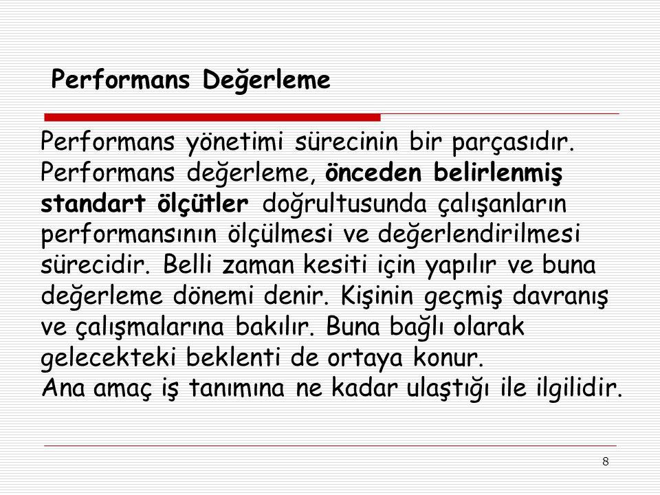 8 Performans Değerleme Performans yönetimi sürecinin bir parçasıdır.