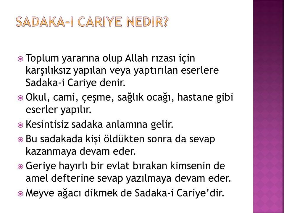  Toplum yararına olup Allah rızası için karşılıksız yapılan veya yaptırılan eserlere Sadaka-i Cariye denir.