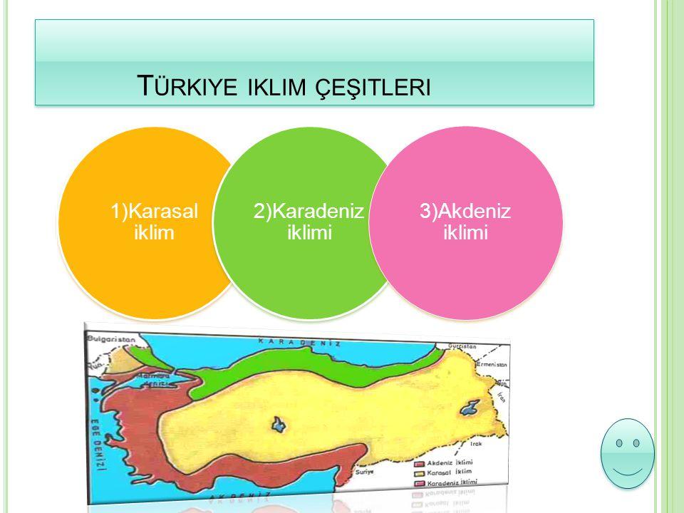 T ÜRKIYE IKLIM ÇEŞITLERI T ÜRKIYE IKLIM ÇEŞITLERI 1)Karasal iklim 2)Karadeniz iklimi 3)Akdeniz iklimi