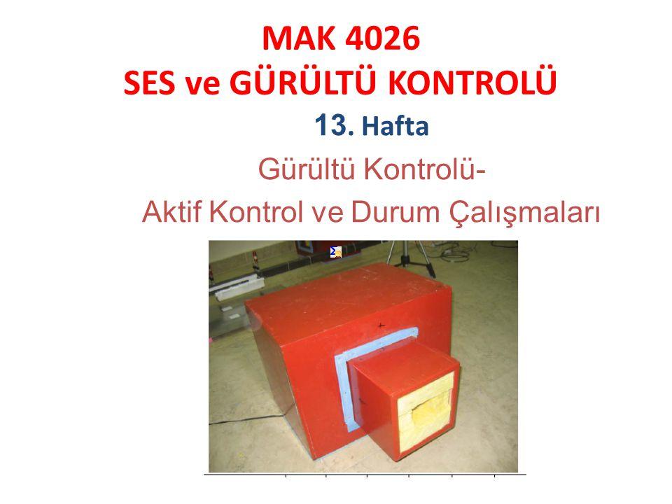 MAK 4026 SES ve GÜRÜLTÜ KONTROLÜ 13. Hafta Gürültü Kontrolü- Aktif Kontrol ve Durum Çalışmaları