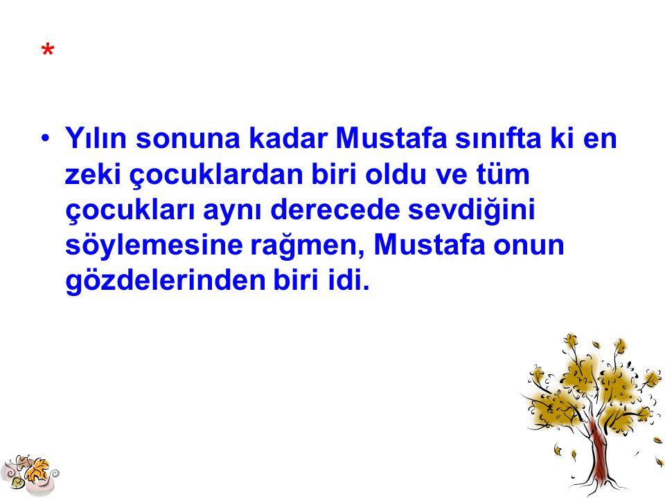 * Yılın sonuna kadar Mustafa sınıfta ki en zeki çocuklardan biri oldu ve tüm çocukları aynı derecede sevdiğini söylemesine rağmen, Mustafa onun gözdel