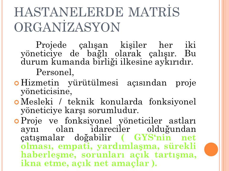 HASTANELERDE MATRİS ORGANİZASYON Projede çalışan kişiler her iki yöneticiye de bağlı olarak çalışır. Bu durum kumanda birliği ilkesine aykırıdır. Pers