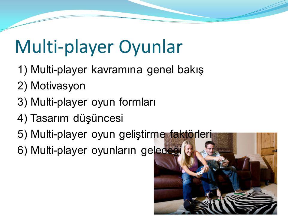 Multi-player Oyunlar 1) Multi-player kavramına genel bakış 2) Motivasyon 3) Multi-player oyun formları 4) Tasarım düşüncesi 5) Multi-player oyun geliş