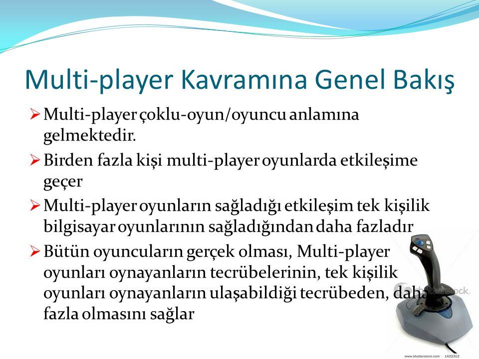 Multi-player Kavramına Genel Bakış  Multi-player çoklu-oyun/oyuncu anlamına gelmektedir.  Birden fazla kişi multi-player oyunlarda etkileşime geçer