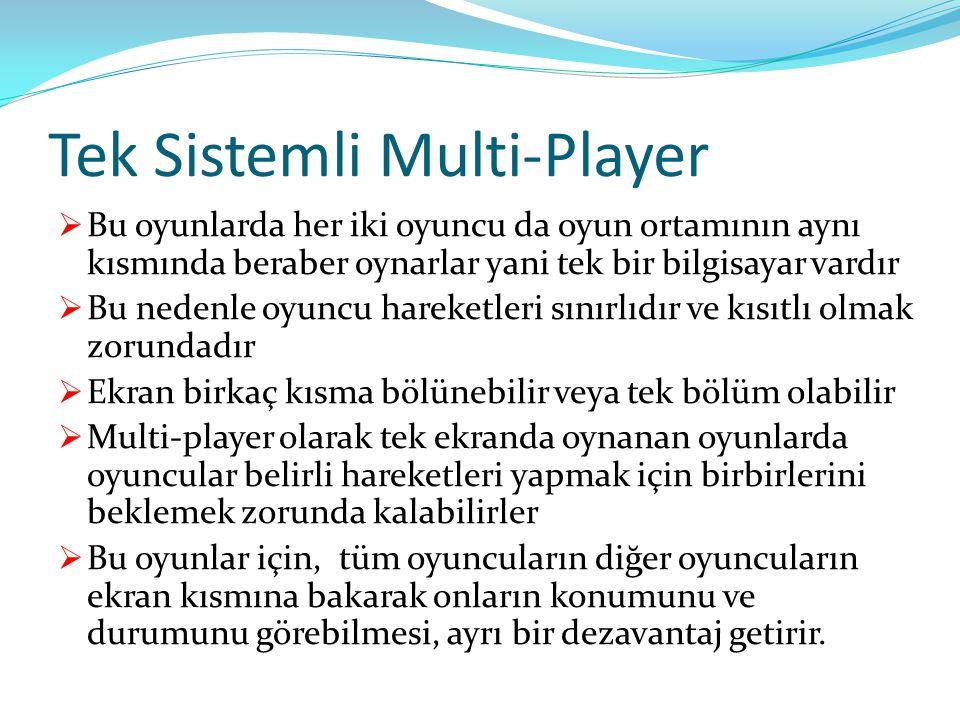 Tek Sistemli Multi-Player  Bu oyunlarda her iki oyuncu da oyun ortamının aynı kısmında beraber oynarlar yani tek bir bilgisayar vardır  Bu nedenle o