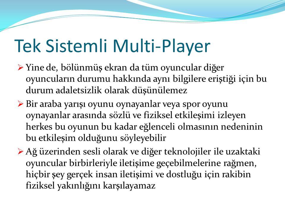 Tek Sistemli Multi-Player  Yine de, bölünmüş ekran da tüm oyuncular diğer oyuncuların durumu hakkında aynı bilgilere eriştiği için bu durum adaletsiz