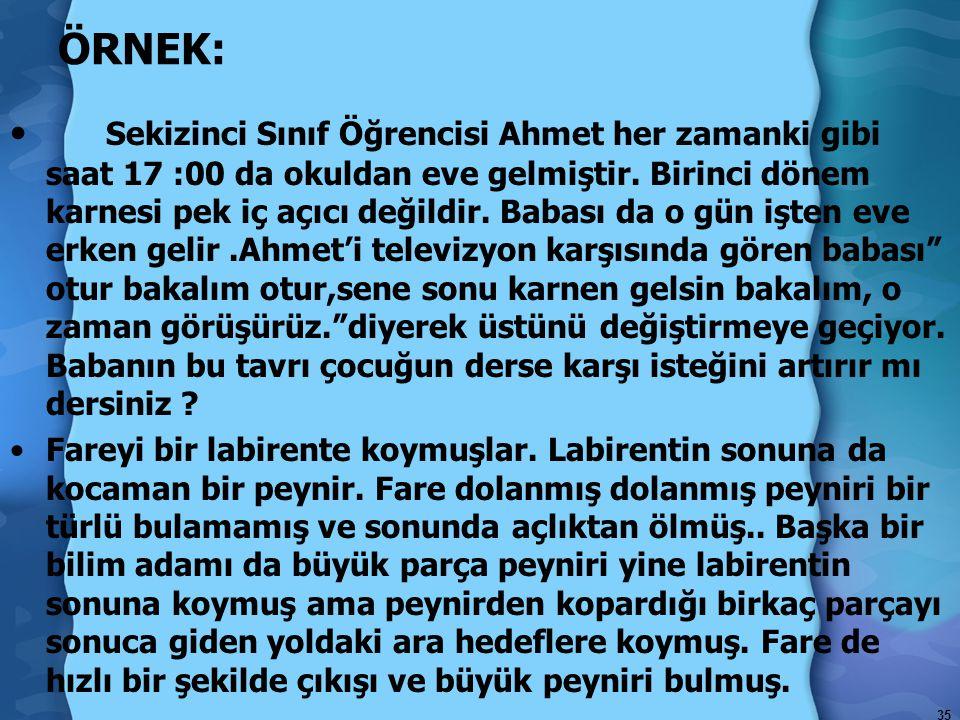 35 ÖRNEK: Sekizinci Sınıf Öğrencisi Ahmet her zamanki gibi saat 17 :00 da okuldan eve gelmiştir.