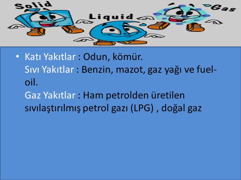 Katı Yakıtlar : Odun, kömür. Sıvı Yakıtlar : Benzin, mazot, gaz yağı ve fuel- oil. Gaz Yakıtlar : Ham petrolden üretilen sıvılaştırılmış petrol gazı (
