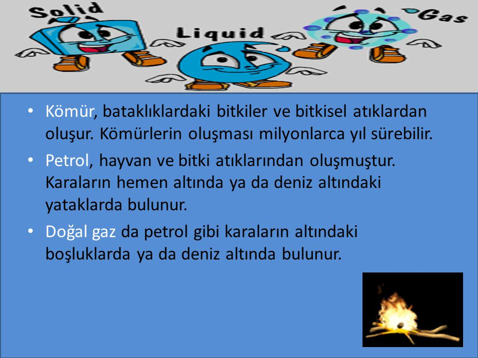 Katı Yakıtlar : Odun, kömür.Sıvı Yakıtlar : Benzin, mazot, gaz yağı ve fuel- oil.