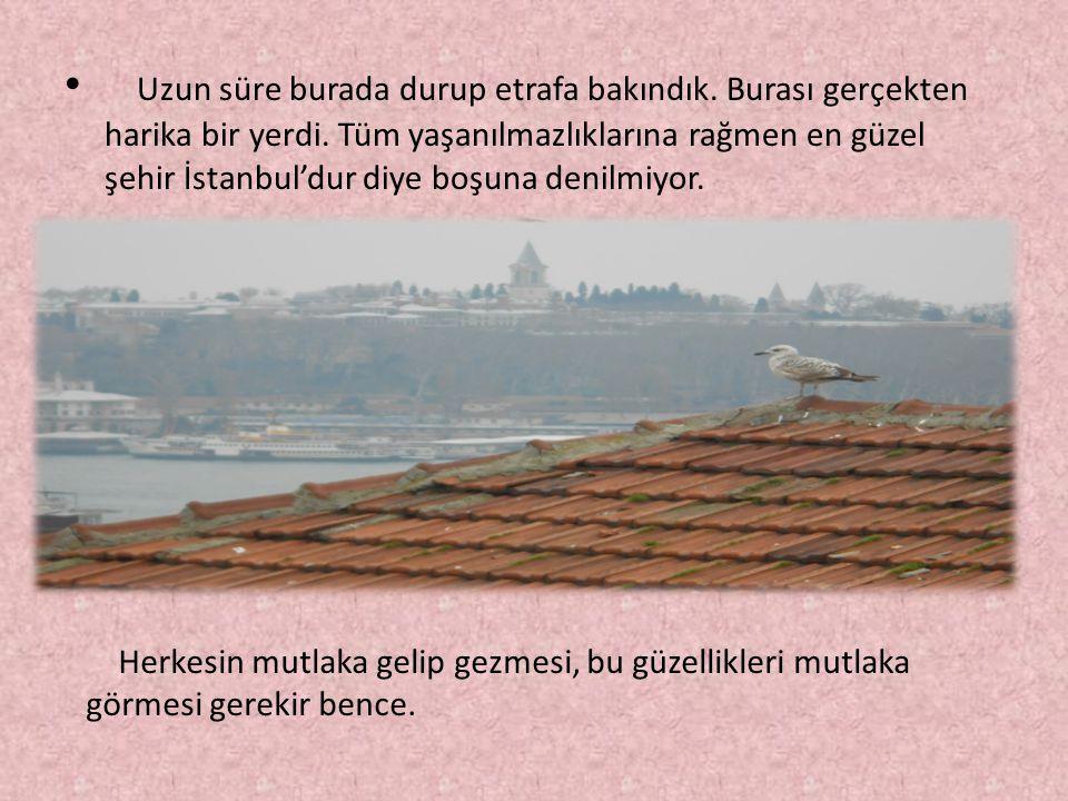 Uzun süre burada durup etrafa bakındık. Burası gerçekten harika bir yerdi. Tüm yaşanılmazlıklarına rağmen en güzel şehir İstanbul'dur diye boşuna deni