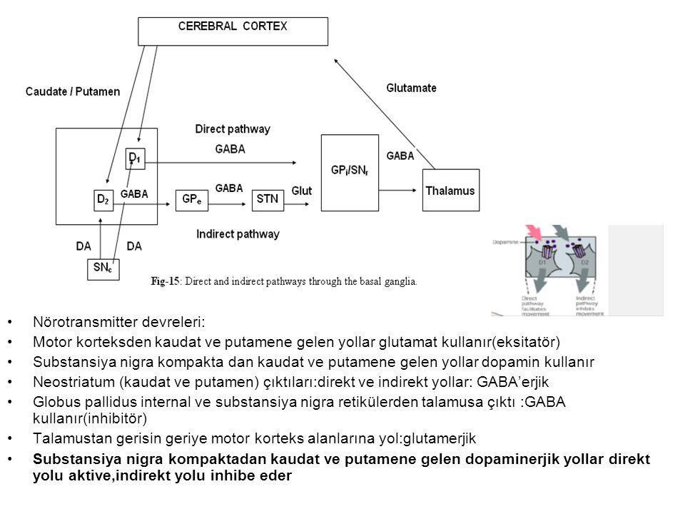Okulomotor devre: Frontal ve suplementel motor göz alanlarından:Kaudat gövdeye Direkt ve indirekt yollarla Talamus aracılığı ile frontal göz alanına ve superior kolikulusa İstemli göz hareketlerinde bozukluk
