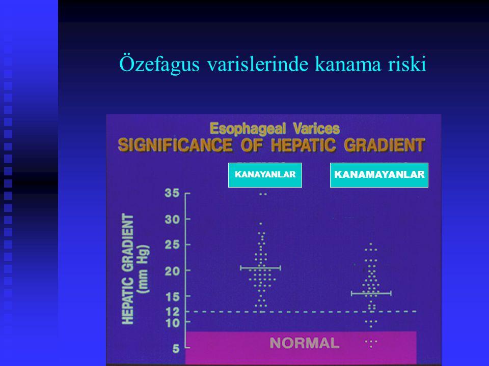 Özefagus varislerinde kanama riski KANAYANLAR KANAMAYANLAR