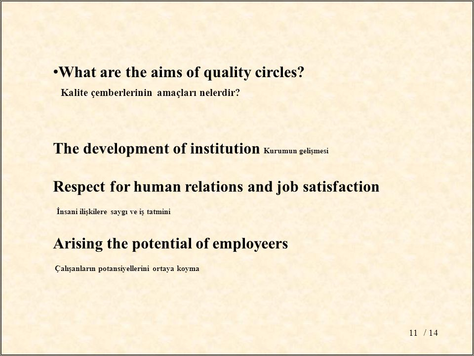 / 1411 What are the aims of quality circles. Kalite çemberlerinin amaçları nelerdir.