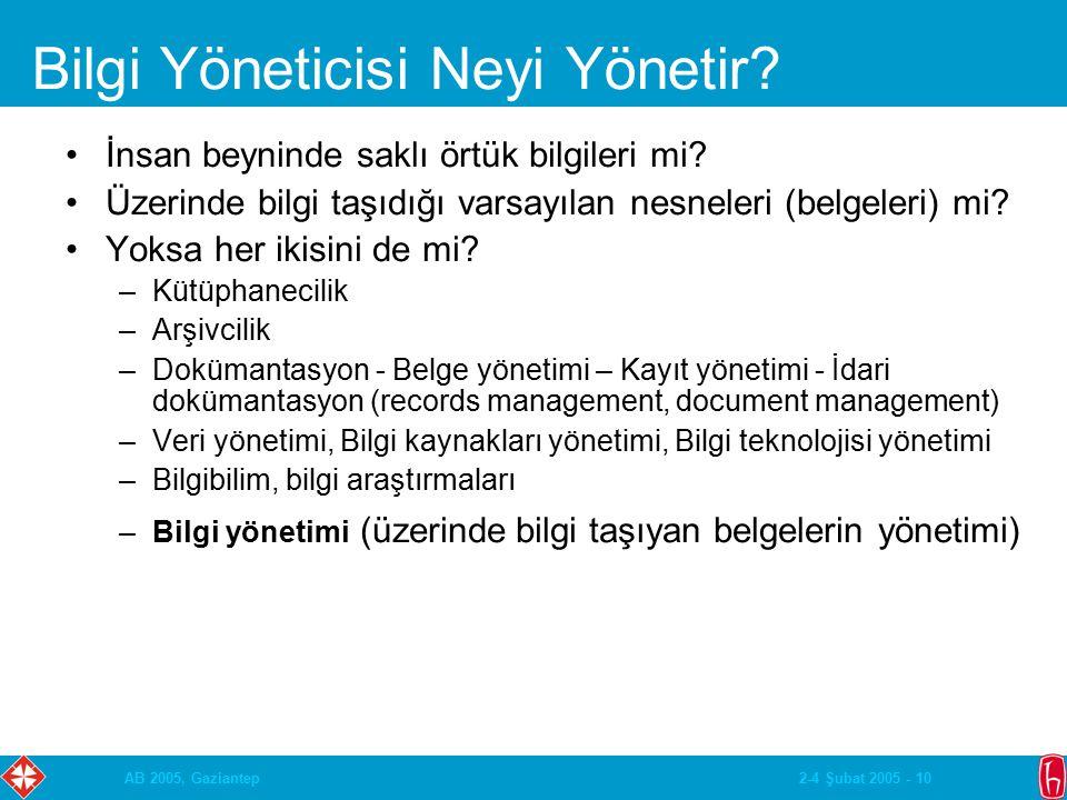 2-4 Şubat 2005 - 10AB 2005, Gaziantep Bilgi Yöneticisi Neyi Yönetir.