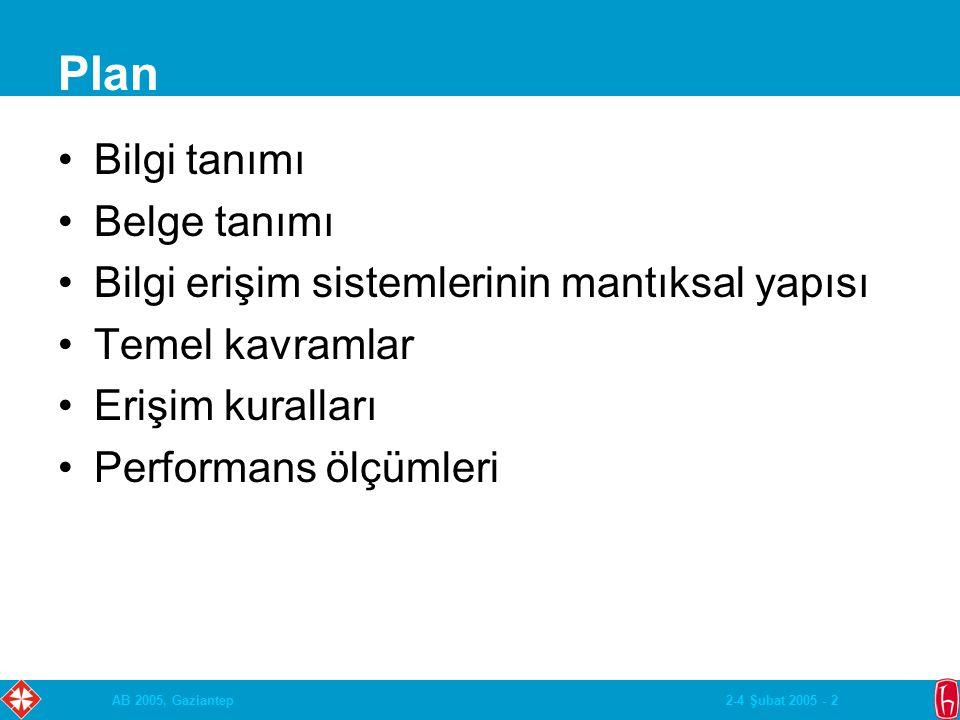 2-4 Şubat 2005 - 2AB 2005, Gaziantep Plan Bilgi tanımı Belge tanımı Bilgi erişim sistemlerinin mantıksal yapısı Temel kavramlar Erişim kuralları Performans ölçümleri