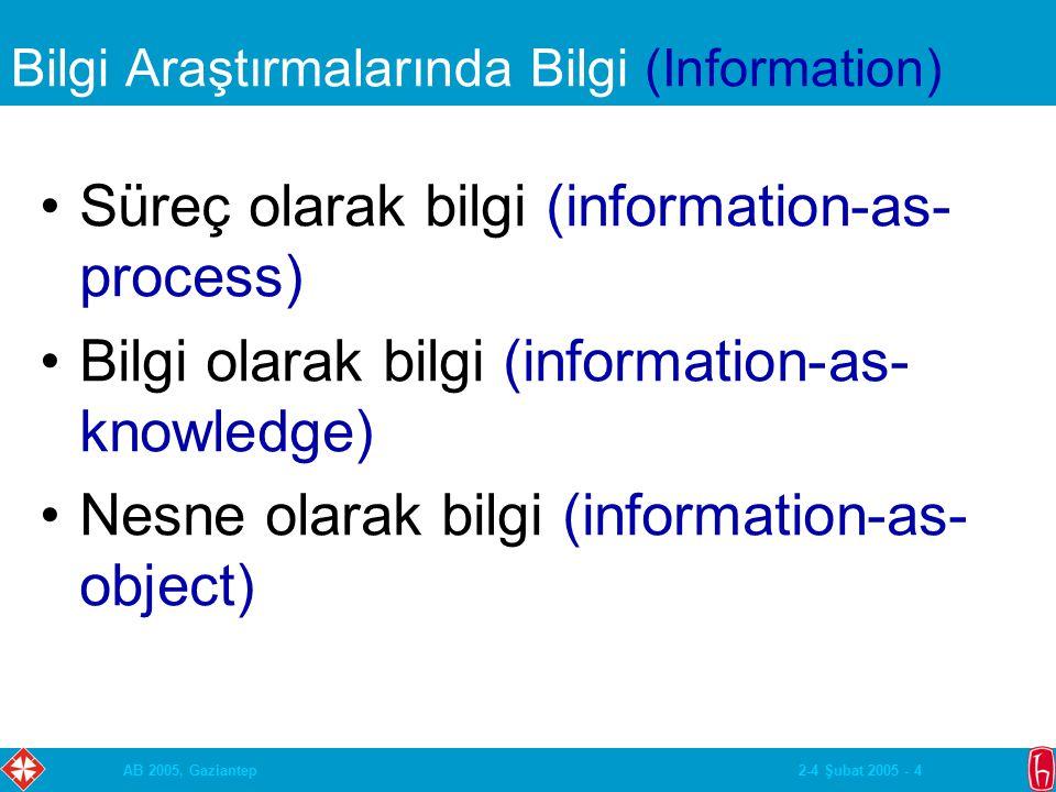2-4 Şubat 2005 - 4AB 2005, Gaziantep Bilgi Araştırmalarında Bilgi (Information) Süreç olarak bilgi (information-as- process) Bilgi olarak bilgi (information-as- knowledge) Nesne olarak bilgi (information-as- object)