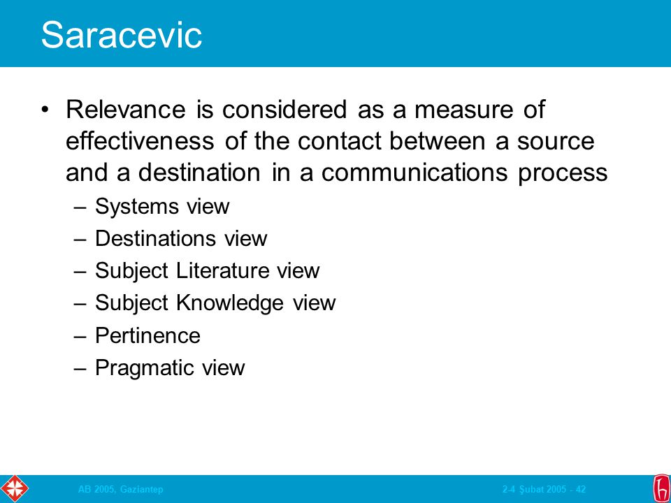 2-4 Şubat 2005 - 42AB 2005, Gaziantep Saracevic Relevance is considered as a measure of effectiveness of the contact between a source and a destinatio