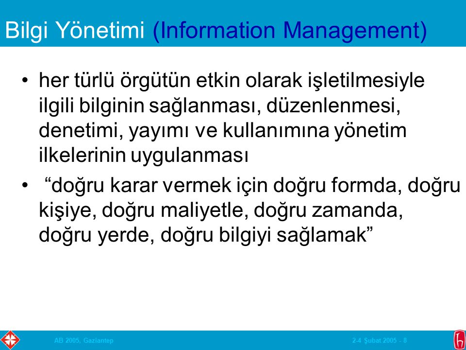 2-4 Şubat 2005 - 29AB 2005, Gaziantep Classification Systems (cont.) Examples: –The Library of Congress Classification System –The Dewey Decimal Classification System –The ACM Computing Reviews Categories –The American Mathematical Society Classification System