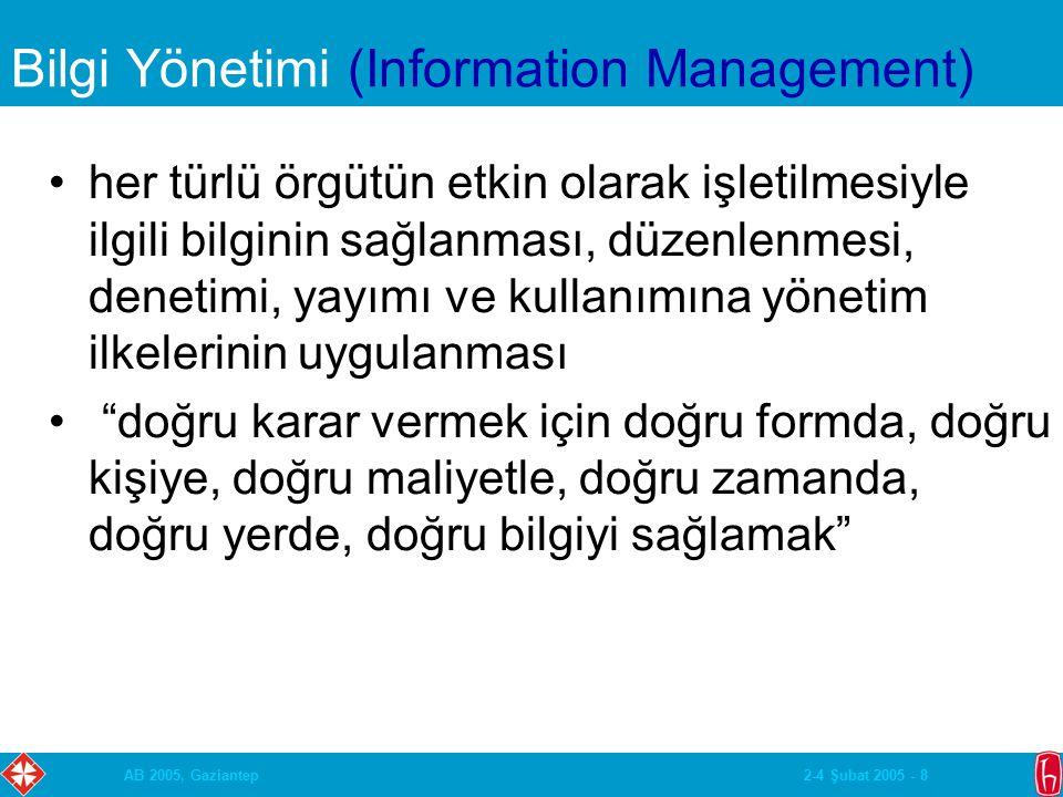 2-4 Şubat 2005 - 8AB 2005, Gaziantep Bilgi Yönetimi (Information Management) her türlü örgütün etkin olarak işletilmesiyle ilgili bilginin sağlanması, düzenlenmesi, denetimi, yayımı ve kullanımına yönetim ilkelerinin uygulanması doğru karar vermek için doğru formda, doğru kişiye, doğru maliyetle, doğru zamanda, doğru yerde, doğru bilgiyi sağlamak