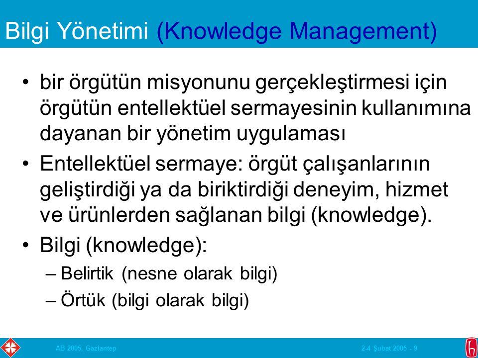 2-4 Şubat 2005 - 9AB 2005, Gaziantep Bilgi Yönetimi (Knowledge Management) bir örgütün misyonunu gerçekleştirmesi için örgütün entellektüel sermayesinin kullanımına dayanan bir yönetim uygulaması Entellektüel sermaye: örgüt çalışanlarının geliştirdiği ya da biriktirdiği deneyim, hizmet ve ürünlerden sağlanan bilgi (knowledge).