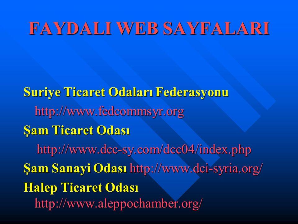 FAYDALI WEB SAYFALARI Suriye Ticaret Odaları Federasyonu http://www.fedcommsyr.org Şam Ticaret Odası http://www.dcc-sy.com/dcc04/index.php http://www.