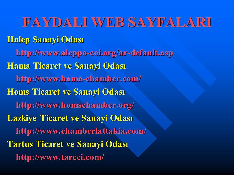 FAYDALI WEB SAYFALARI Halep Sanayi Odası http://www.aleppo-coi.org/ar-default.asp Hama Ticaret ve Sanayi Odası http://www.hama-chamber.com/ Homs Ticar