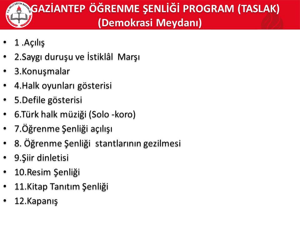 GAZİANTEP ÖĞRENME ŞENLİĞİ PROGRAM (TASLAK) (Demokrasi Meydanı) 1.Açılış 2.Saygı duruşu ve İstiklâl Marşı 3.Konuşmalar 4.Halk oyunları gösterisi 5.Defile gösterisi 6.Türk halk müziği (Solo -koro) 7.Öğrenme Şenliği açılışı 8.